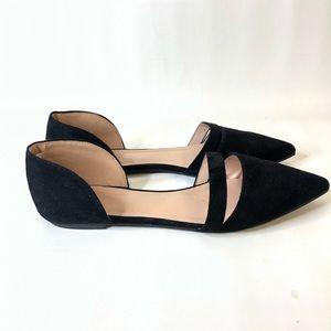 J Goods Pointed Toe Black Flats Suede Slip On